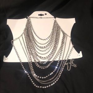 Silver Rhinestones body chain necklace